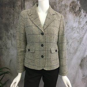 L.L. Bean Wool/Silk Herringbone Blazer LNC
